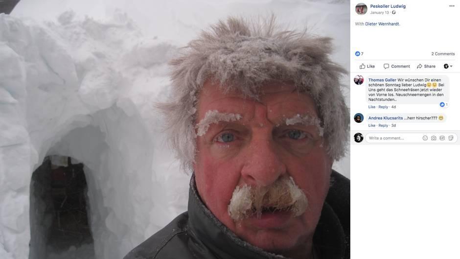 Ludwig Peskoller mit gefrorenem Schnurrbart und Haar