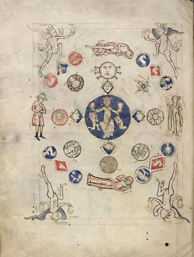 """Auch für diese Illustration aus dem """"Liber Scivias"""" (um 1220) von Hildegard von Bingen wurde Ultramarin verwendet"""