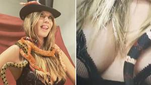 Heidi Klum räkelt sich mit Schlangen