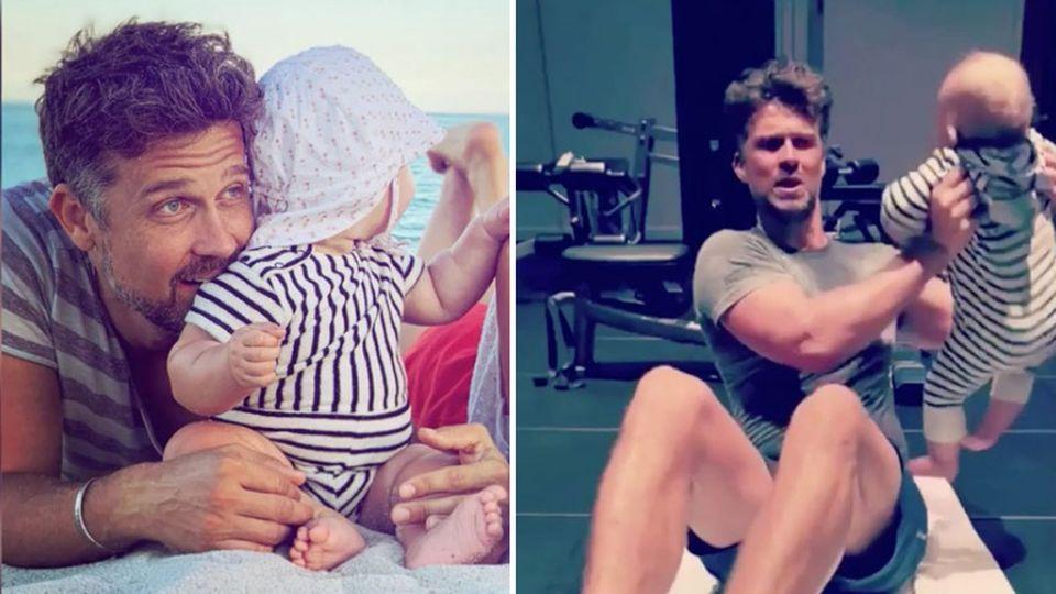 Wayne Carpendale trainiert im Urlaub mit Baby