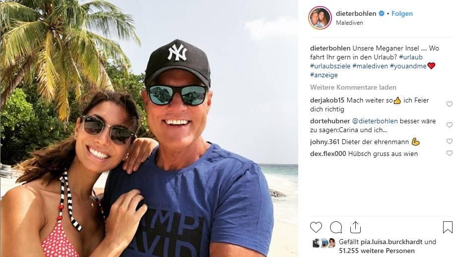 Dieter Bohlen und Freundin Carina Walz im Urlaub am Strand