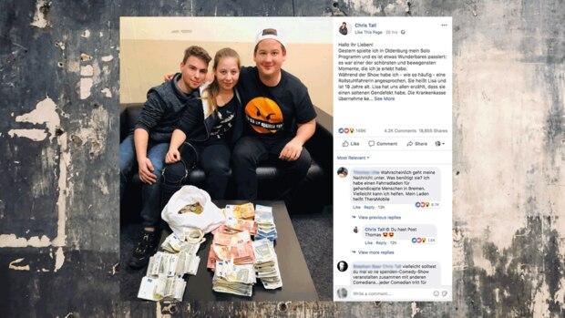 Oldenburg: Chris Tall sitzt nach der Show neben der 19-jährigen Rollstuhlfahrerin Lisa