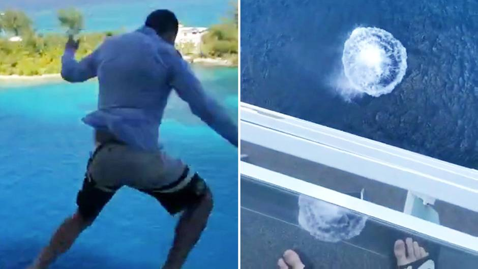 Tourist springt vom Kreuzfahrtschiff, um seine Freunde zu beeindrucken