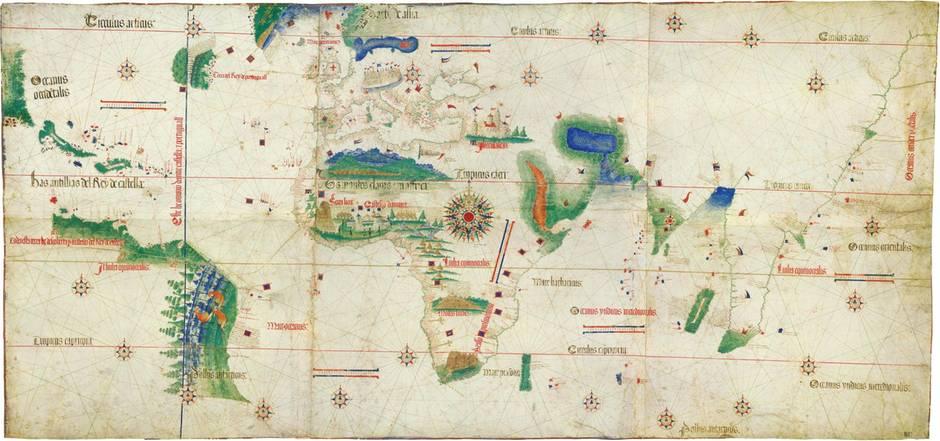 Die Cantino-Planisphäre. Die Karte von 1502 ist nach ihrem Dieb benannt – der sie wohl auch gerettet hat.