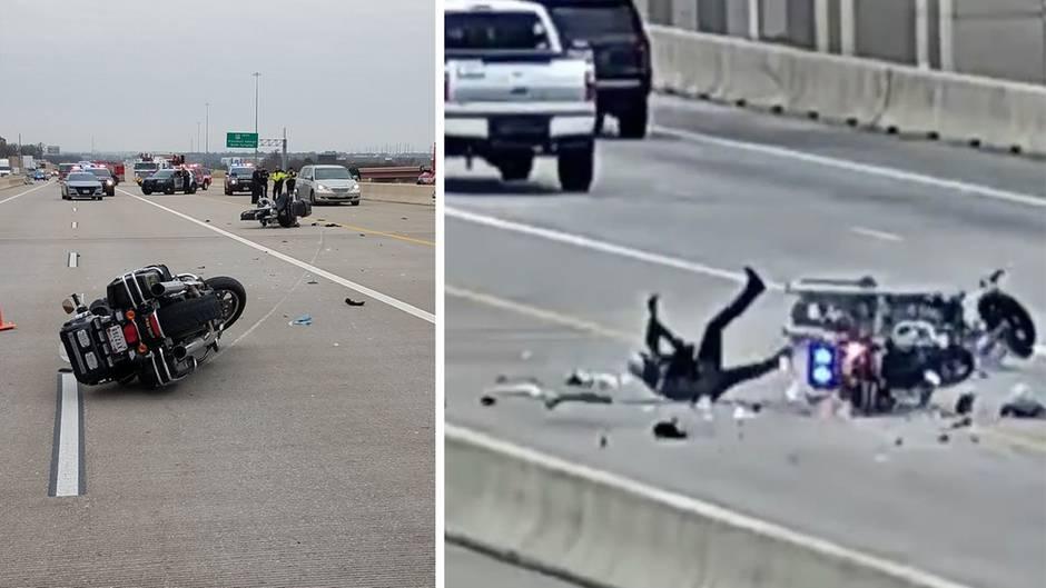 Unfall in Texas: Von wegen Fahrerflucht – US-Motorradcops fahren sich gegenseitig über den Haufen
