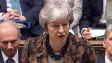 Theresa May am Montag im britischen Unterhaus