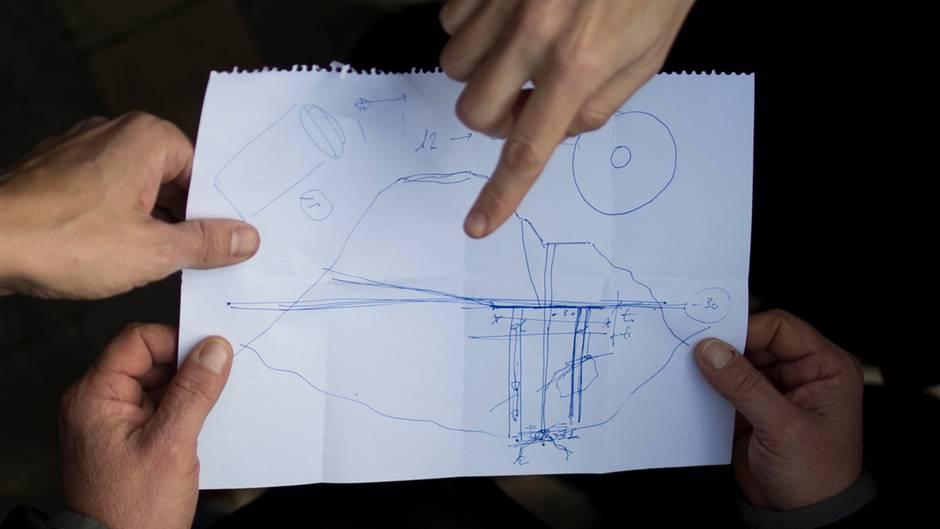 Die einfache Zeichnung zeigt, wie sich die Ingenieure die Rettung des Jungen in Spanien vorstellen