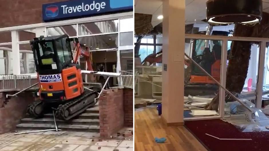 Wütender Baggerfahrer: Bauarbeiter zerstört Hotel, weil sein Gehalt nicht gezahlt wurde