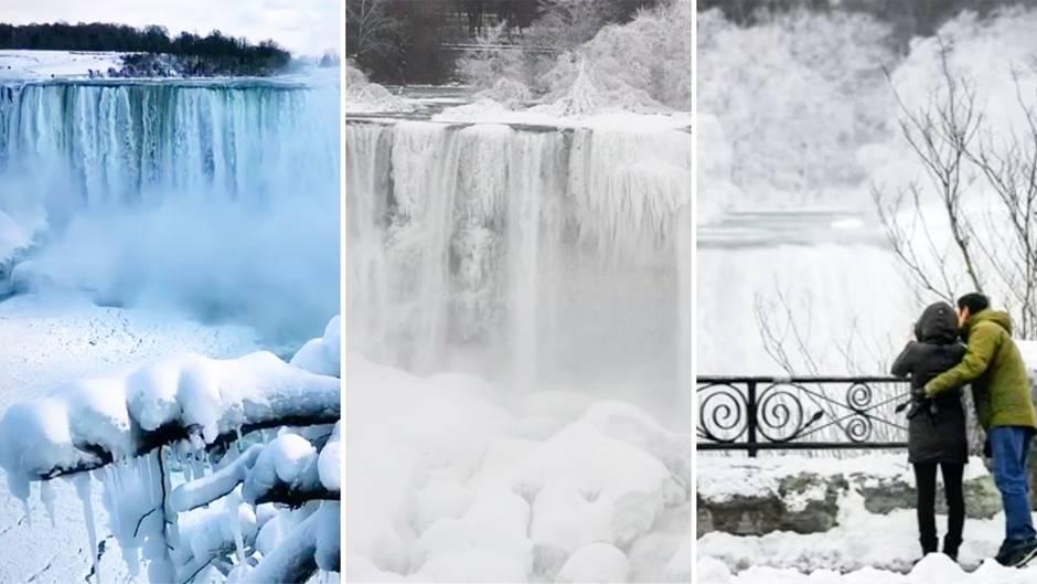 Niagarafälle: Klirrende Kälte lässt berühmte Wasserfälle teilweise gefrieren