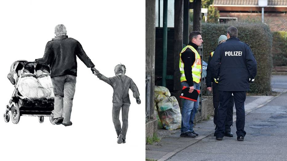 Plakat der Kieler Polizei; Beamte in der Reihenhaussiedlung in Schönberg, wo eine Mutter erschossen wurde