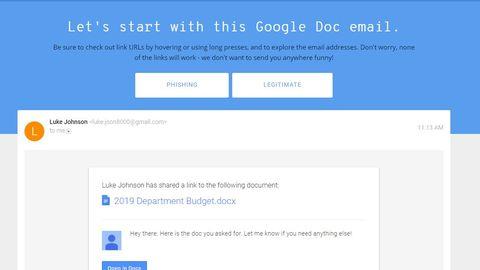 Beim Google-Quiz muss der Nutzer entscheiden: Phishing oder nicht?