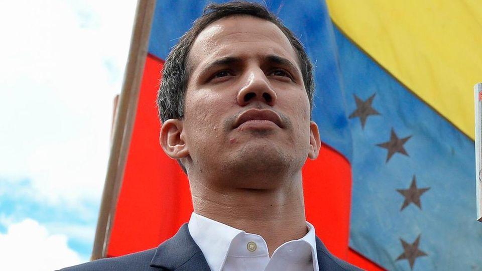 Venezuelas Parlamentspräsident Juan Guaidó bei einerDemonstration gegen Präsident Nicolás Maduro in Caracas