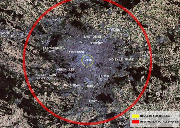 Hier wird die Wirkung der Bombe auf Paris dargestellt. Der rote Kreis markiert den Bereich einer totalen Zerstörung.