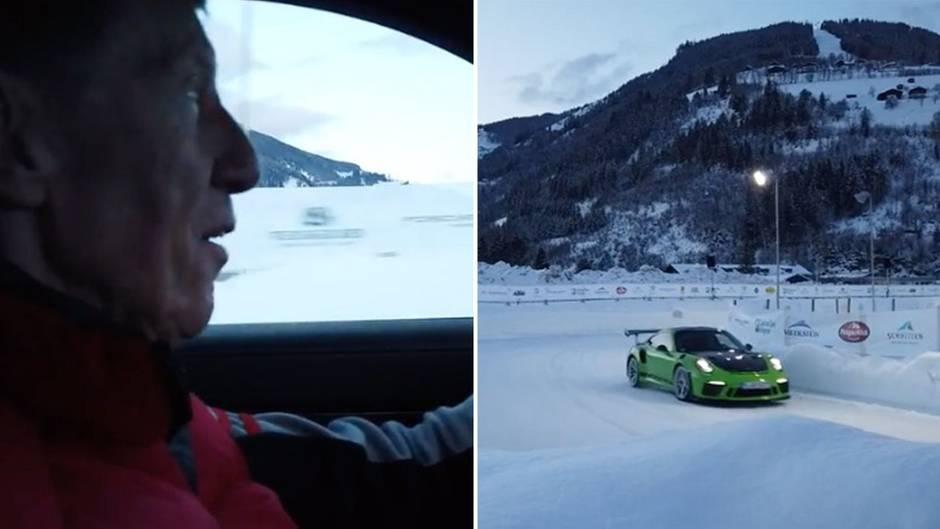 Eisstrecke in Österreich: Rallye-Legende Walter Röhrl im Porsche GT 3 RS