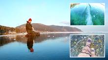 Sibirien: Mann wandert über zugefrorenen Baikalsee – die Aufnahmen sind magisch