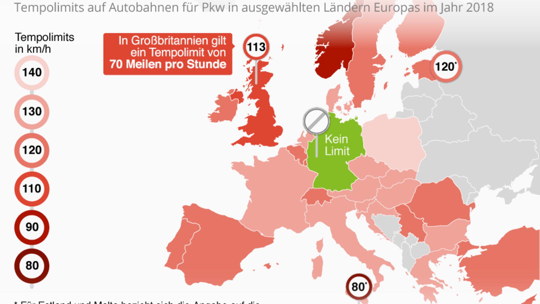 Geschwindigkeitsbegrenzung Autobahn Deutschland Karte.Tempolimits So Schnell Darf Man In Europa Fahren Stern De