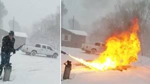 USA: Dieser Mann kämpft mit Flammenwerfer gegen Schneemassen
