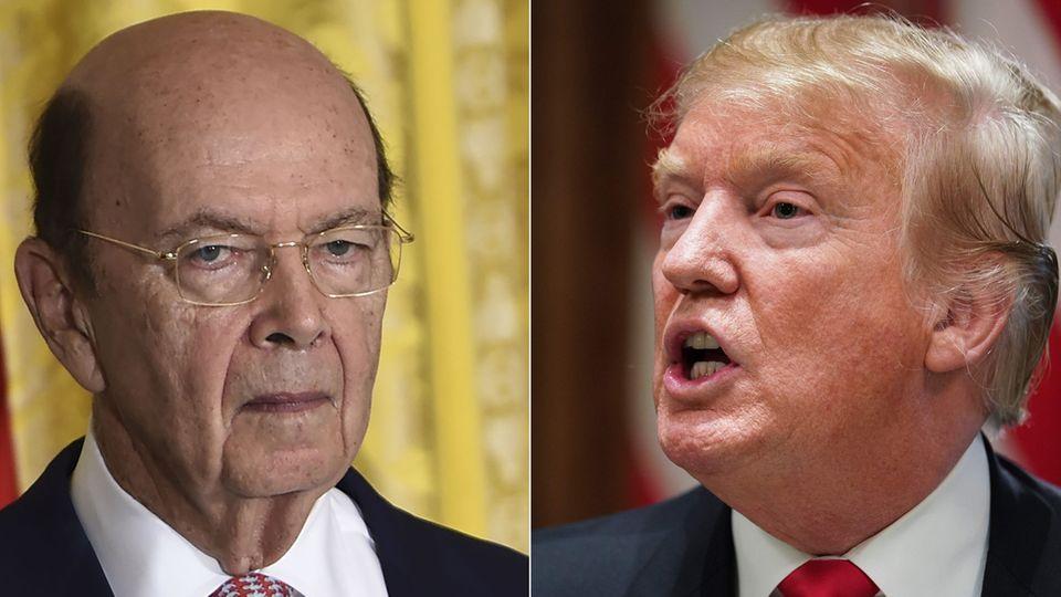 US-Präsident Donald Trump (r.) und sein Handelsminister Wilbur Ross