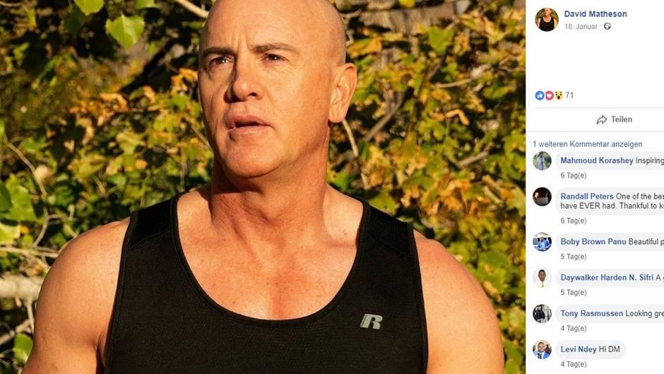 Das Profilbild von David Matheson auf Facebook zeigt einen glatzköpfigen, muskulösen Mann in schwarzem Tanktop