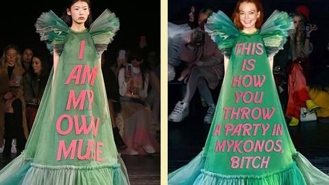 Paris Fashion Week: Kleider als Memes: Diese Designer-Roben werden durch Promi-Zitate so richtig lustig
