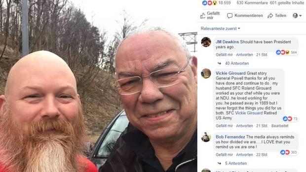 Auf Facebook teilte Ex-US-Verteidigungsminister Colin Powell (r.) die Geschichte über den Veteran, der ihm bei einer Reifenpanne half