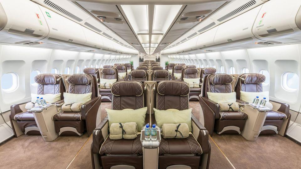 Nur 60 statt 280Plätze: In diesem Airbus A340 geht es im Jahre 2020 um den Globus