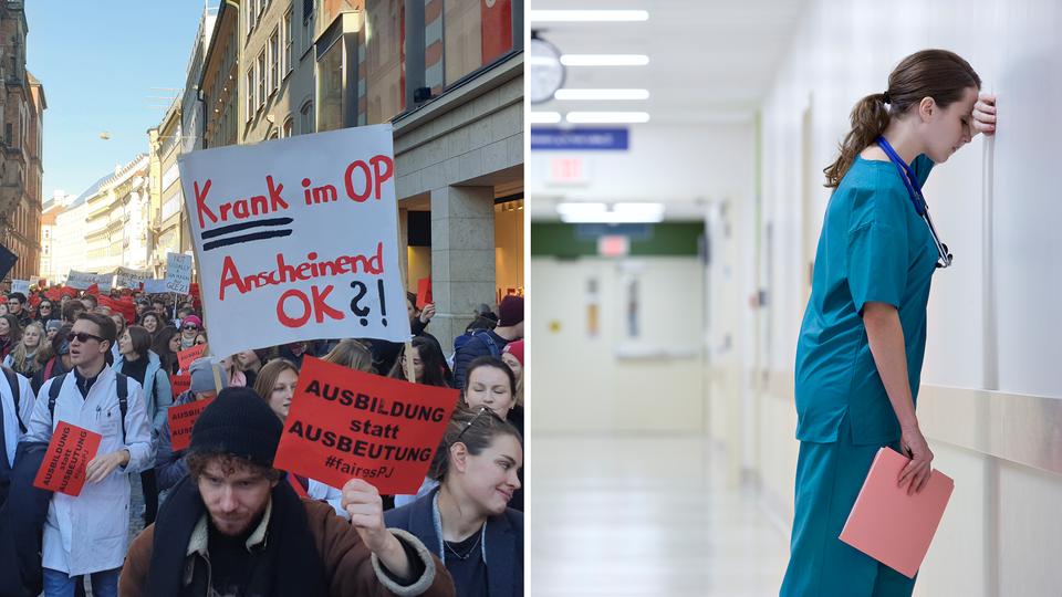 """Links: """"Fares PJ""""-Protest / Rechts: Eine Ärztin mit Burn-out"""