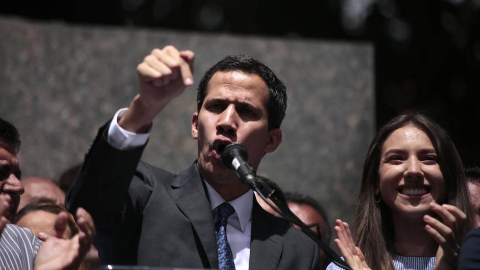 Venezuelas selbst ernannter InterimspräsidentJuan Guaidóam Samstag in Caracas