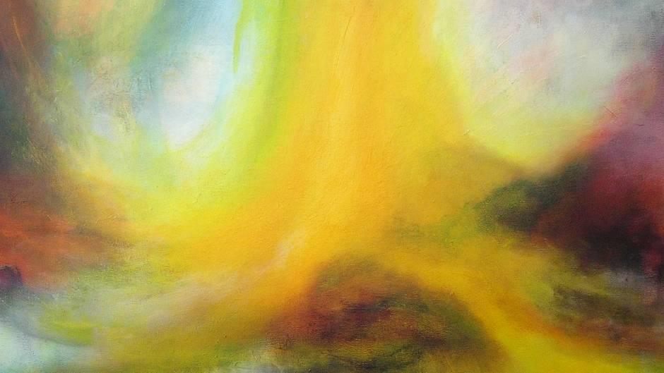"""Wer sich mit dem Tod auseinandersetzen muss, stellt sich früher oder später die Glaubensfrage. Der eine findet dabei zu Gott, ich schaute mir auch die Spiritualität an. Meine gute Freundin Conny spürt Engel und malt spirituelle Bilder, wie dieses hier:""""Quelle - die Kraft aus deiner inneren Quelle schöpfen""""."""