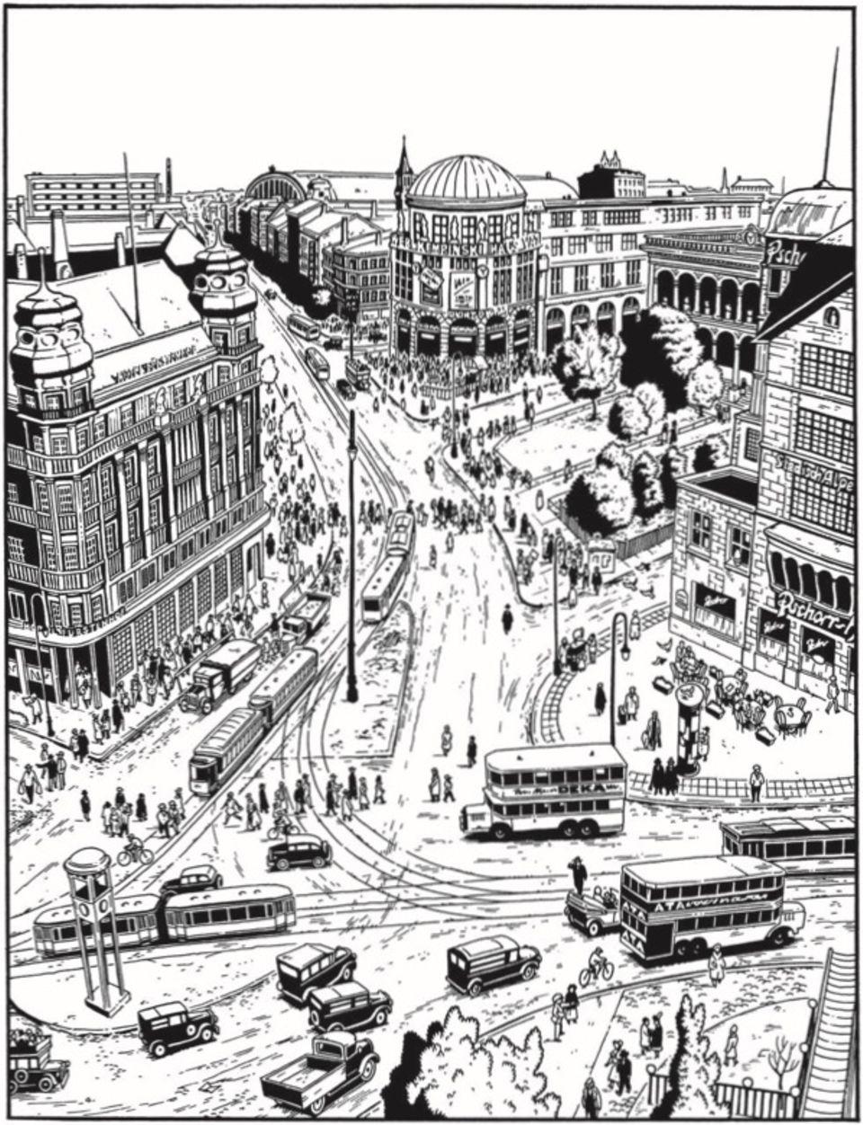Der Potsdamer Platz von Jason Lutes gezeichnet
