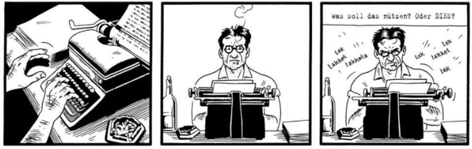 Kurt Severing sitzt an seiner Schreibmaschine