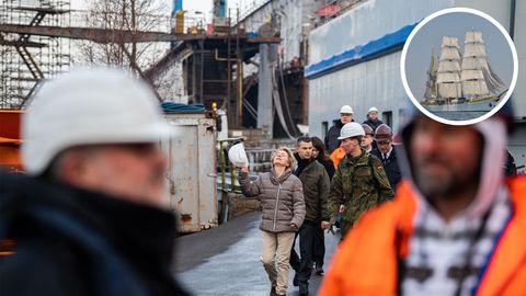 Bundesverteidigungsministerium Ursula von der Leyen nach ihrem Besuch der Gorch Fock im Januar
