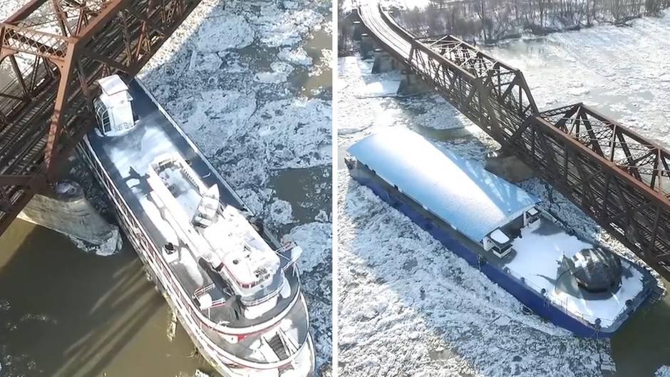 Geisterschiffe treiben führerlos über den vereisten Hudson River