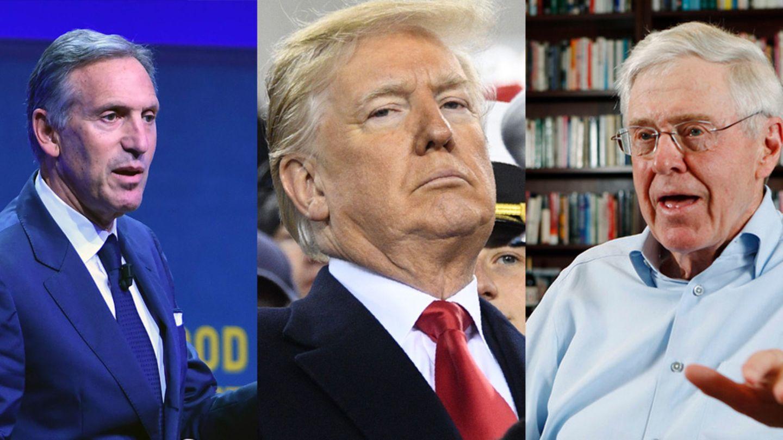 Donald Trump Charles Koch Howard Schultz