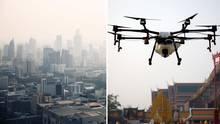 Bangkok kämpf mit wassersprühenden Drohnen gegen die hohe Feinstaubbelastung.