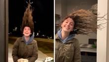 Taylor Scallon geht vor ihre Haustür und lässt die Haare frieren