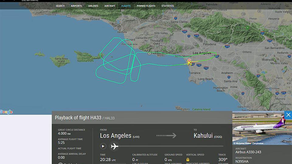 Hawaiian Airlines: Horrorflug nach Hawaii: Airbus muss dreimal umkehren