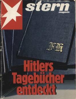 Das Cover des stern 18/1983, erschienen am Montag, den 25. April 1983. Der Erstverkaufstag wurde kurzerhand vorgezogen. Auf dem Titelblatt istder ursprüngliche Erscheinungstermin abgedruckt(Donnerstag, 28. April).