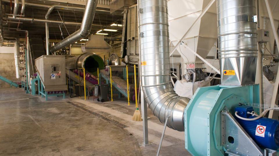 Recycling-Anlage für Windelmüll von Innen