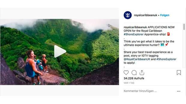 Instagram-Post des Kreuzfahrtunternehmens Royal Caribbean