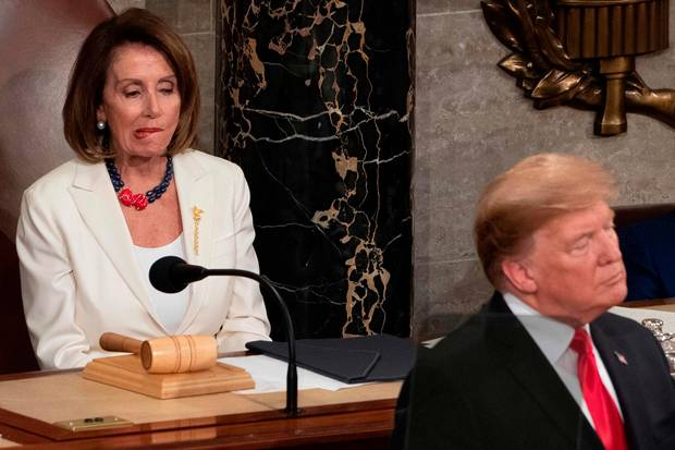 Verzog bei der Rede von Donald Trump so manches Mal den Mund: Nancy Pelosi