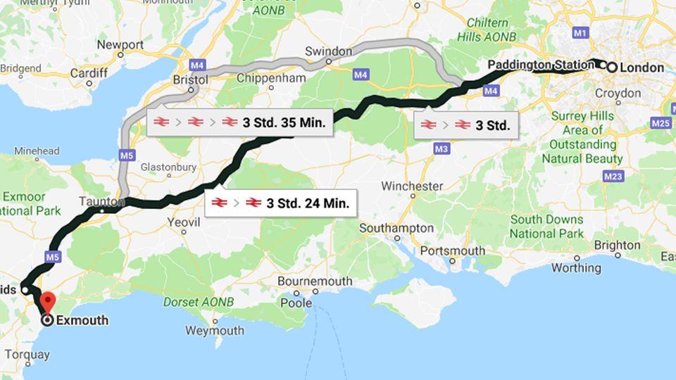 Für die Strecke von London nach Exmouth benötigt man mit Bus und Bahn ca. 3,5 Stunden