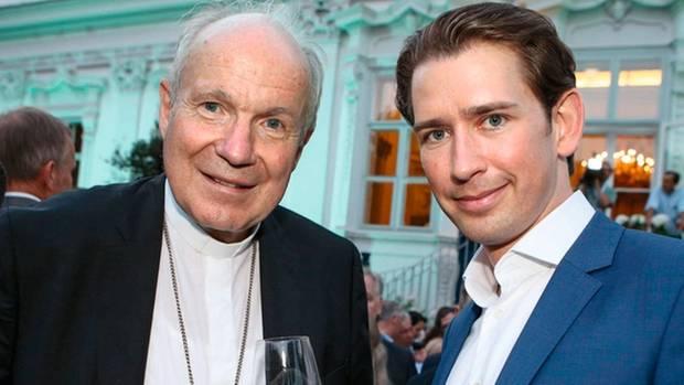 Schönborn beim Sommerfest mit dem österreichischen Bundeskanzler Sebastian Kurz