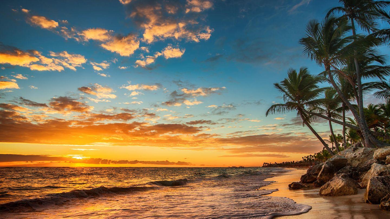 Eine Insel im Sonnenuntergang
