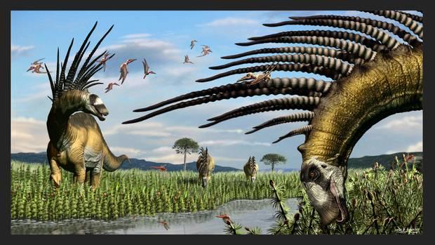 Eine Animation zeigt, wie der Dino Bajadasaurus pronuspinax ausgeshen haben könnte