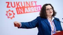SPD-Chefin Andrea Nahles nach der Klausurtagung der Parteispitze im Willy-Brandt-Haus