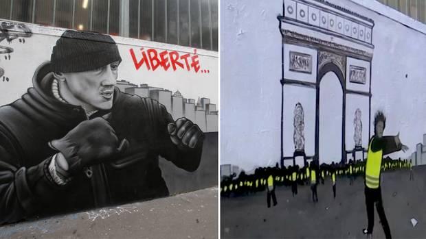 Der Protest der Gelbwesten wird auch von der Pariser Straßenkünstler-Szene aufgegriffen.