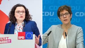 GroKo-Parteivorsitzende Andrea Nahles (SPD) und Annegret Kramp-Karrenbauer (CDU)
