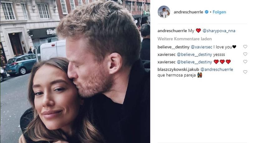 Andre Schürrle und Anna Sharypova küssend auf Instagram