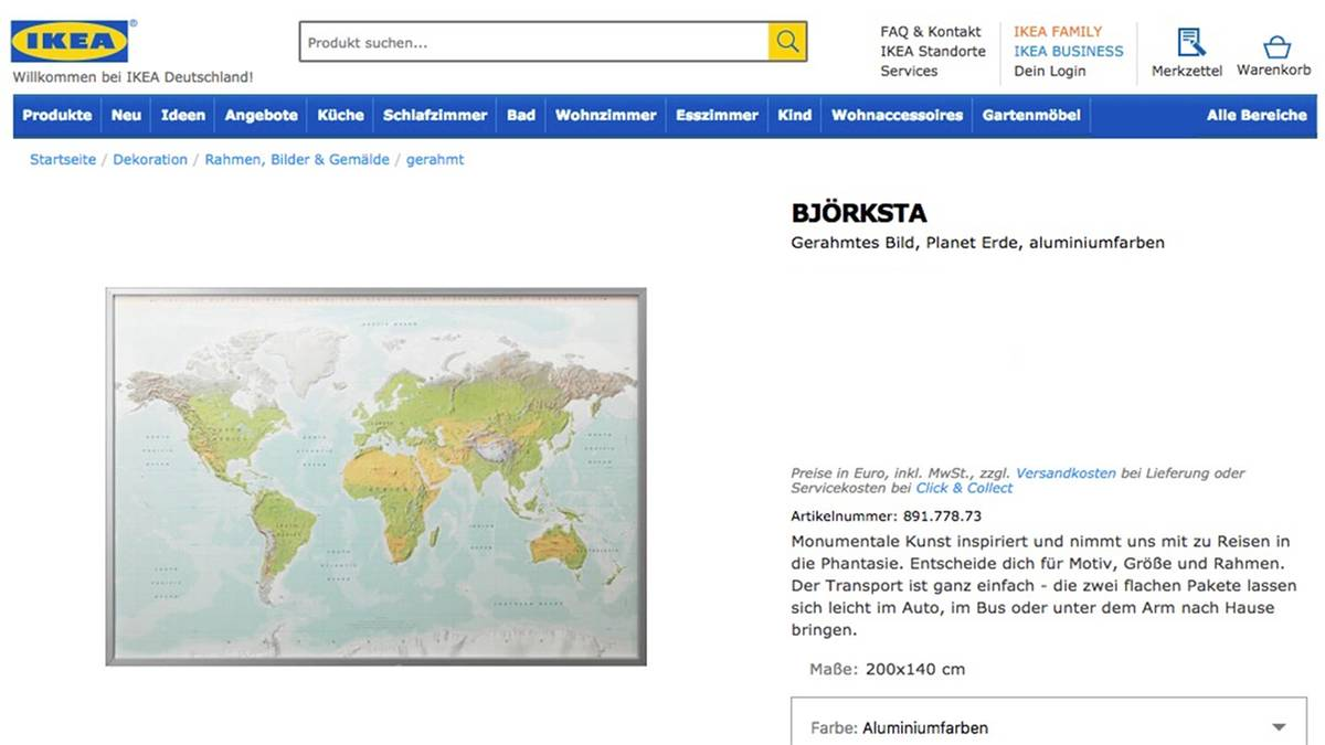 Björksta: Ikea vergisst Neuseeland auf Karte | STERN.de